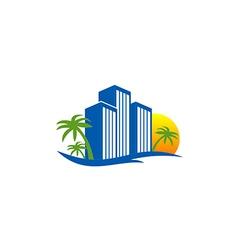 hotel resort beach travel logo vector image vector image
