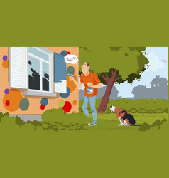 house painter paints shutters cheerful home vector image