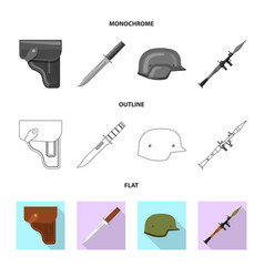 isolated object of weapon and gun logo set of vector image