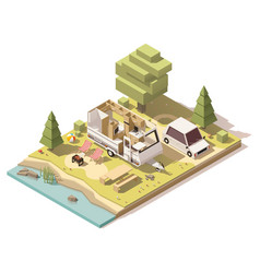 Isometric low poly camper in campsite vector