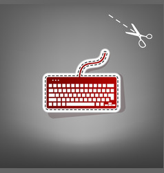 Keyboard simple sign red icon with vector