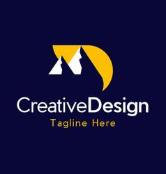 letter d mountain landscaping creative logo vector image