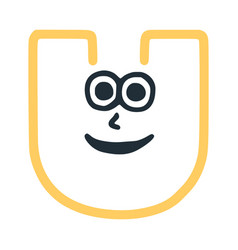 Letter u happy eccentric smiling character smiley vector