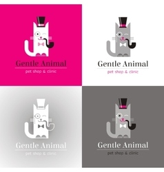 Linear of funny vintage cat in vector