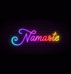 Neon namaste lettering shiny multicolor vector