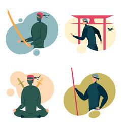Ninja characters in black spy masks - avatars set vector