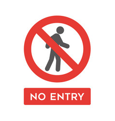 no entry sign icon simple flat style vector image
