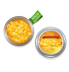 open tin can with grains of maize vector image