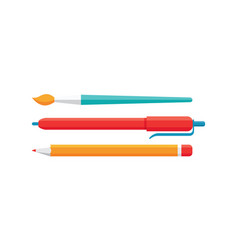 Paint brush pencil pen - concept icons in flat vector