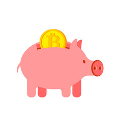 pig piggy bank and bitcoin financial vector image