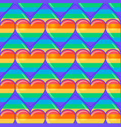 rainbow hearts gay pride flag colored colored vector image