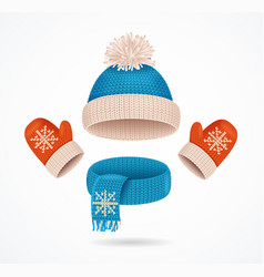 realistic 3d detailed hat scarf and mittens set vector image