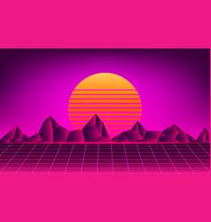 retro neon sun background vector image