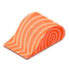 salmon piece icon isometric 3d style vector image