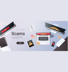 Scam alert internet fraud hacking scams concept vector