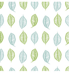Seamless hand drawn leaves in rows pattern vector