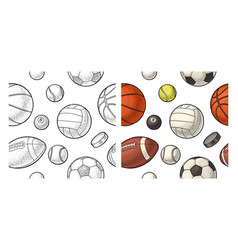 seamless pattern different kinds sport balls vector image