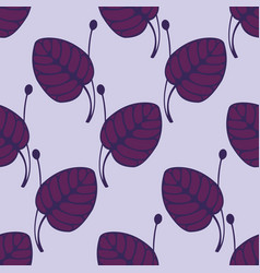 Seamless pattern with violet stylized leaves vector