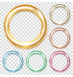 Set of colored metallic rings vector