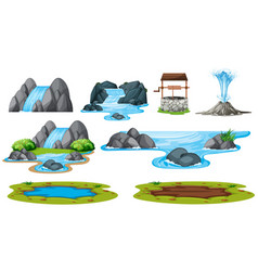 set of isolated water element vector image
