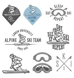 Set retro ski emblems badges and design element vector
