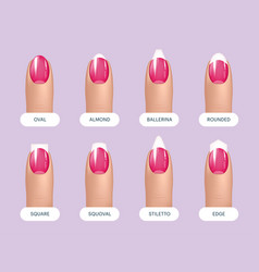Set simple realistic pink manicured nails vector