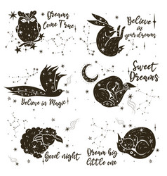 set star animals and lettering isolate vector image