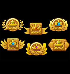 Set vintage gold awards with a crown with vector