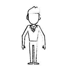 Sketch man male faceless standing vector