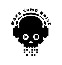 Skull in headphones make some noise sign logo vector