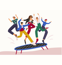 smiling cartoon people jumping on trampoline flat vector image