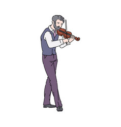 Street musician playing violin person sketch vector