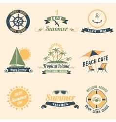 Summer sea retro labels vector