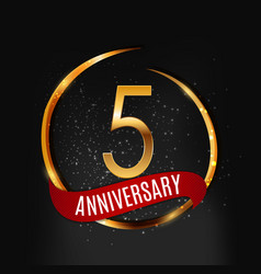 Template gold logo 5 years anniversary with red vector