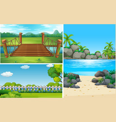 three nature scenes at day time vector image