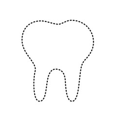 Tooth sign black dashed icon vector