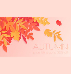trendy autumn sale banner with paper style bright vector image