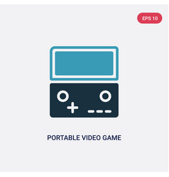 two color portable video game console icon from vector image