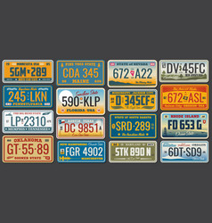 usa states ans cities vehicle registration plates vector image