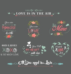Valentines day labels chalkboard vector