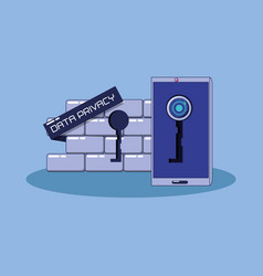 Wall with padlock data privacy vector