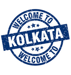 Welcome to kolkata blue stamp vector