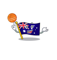 With basketball australian flag clings to cartoon vector