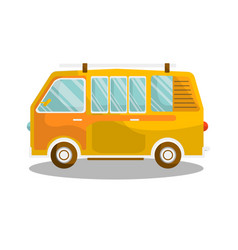 camping yellow bus isolated on white background vector image vector image