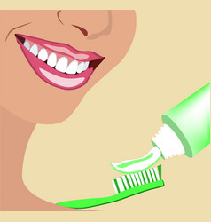 face of girl and smile with ideal teeth for vector image