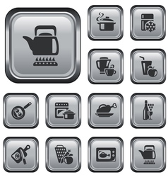 Kitchen and cooking buttons vector image vector image