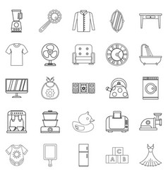 large dining room icons set outline style vector image vector image