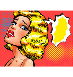 pop art of sad thinking woman vector image vector image