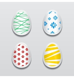 Set of 3d egg stickers with different patterns for vector image vector image