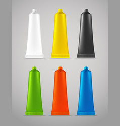 Collection of color plastic tubes vector image vector image